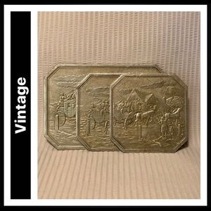 Vintage Embossed Foil Trivets with Stagecoach